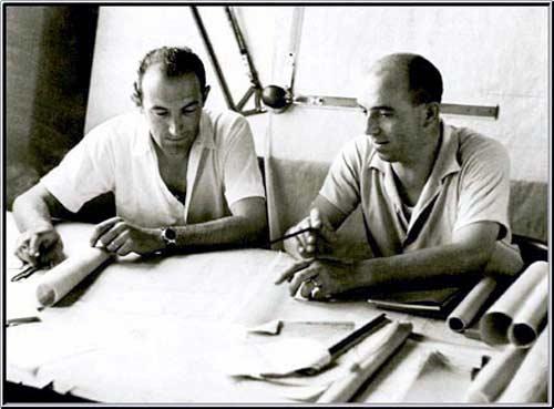 Джоакино Коломбо (справа) с конструктором Alfa Romeo Аурелио Лампреди