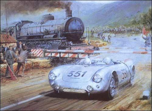 Ханс Херрманн проносится под шлагбаумом на пути к победе в гонке Милле-Милья-54