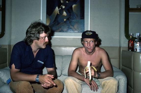 Норберт Хауг (тогда - журналист Auto Motor und Sport) и Ники Лауда