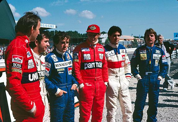Джон Уотсон, Бруно Джакомелли, Ален Прост, Ники Лауда, Роберто Герреро и Кеке Росберг на Гран При Швейцарии 1982 года
