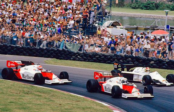 Ален Прост, Ники Лауда и Хуб Роттенгаттер на Гран При Канады 1984 года