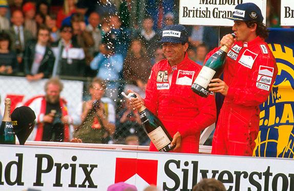 Микеле Альборето и Ален Прост на подиуме Гран При Великобритании 1985 года