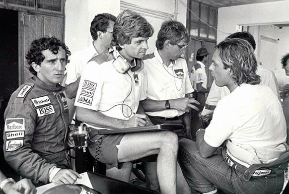 Ален Прост, Стив Николс и Кеке Росберг на Гран При Франции 1986 года