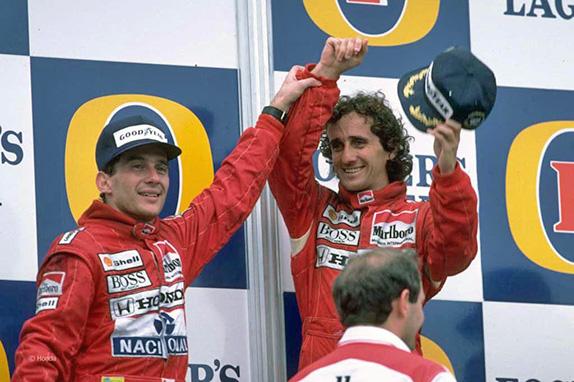 Айртон Сенна и Ален Прост на подиуме Гран При Австралии 1988 года. Фото Honda