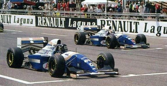Хилл и Мэнселл на первом ряду стартового поля Гран При Франции 1994 года
