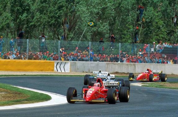 Бергер, Хилл, Култхард и Алези на Гран При Сан-Марино 1995 года