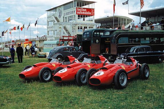 Ferrari Луиджи Муссо, Майка Хоторна и Вольфганга фон Трипса на Гран При Франции 1958 года