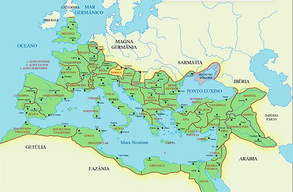 Римская империя и провинция Норик (выделена жёлтым цветом)