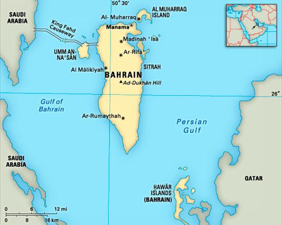 Карта современного Бахрейна