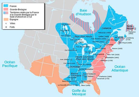 Карта Новой Франции XVIII века