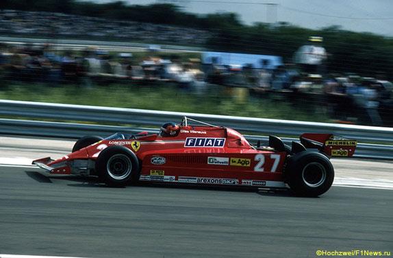 Жиль Вильнёв за рулём Ferrari 126CK на Гран При Франции, 1981 год