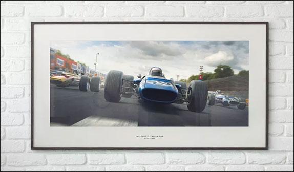 Постер, повящённый победе Джеки Стюарта в Гран При Италии 1969 года