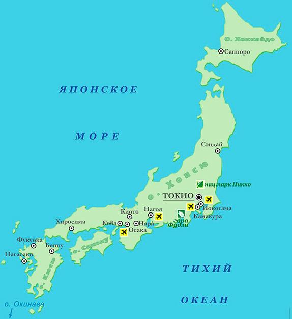 Карта современной Японии