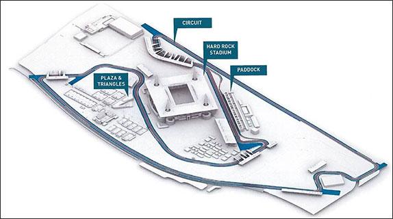 Схема трассы вокруг Hard Rock Stadium