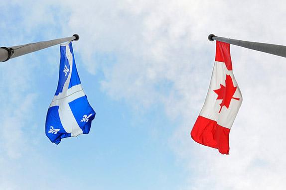 Флаги Квебека и Канады