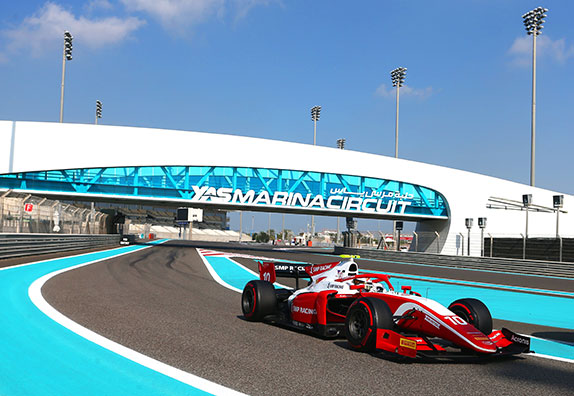Роберт Шварцман за рулём машины Формулы 2 команды Prema на тестах в Абу-Даби, фото FotoFormulaK