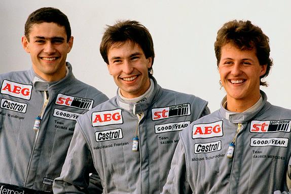 Карл Вендлингер, Хайнц-Харальд Френтцен и Михаэль Шумахер. Фото Daimler