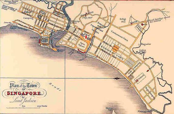План города Сингапур лейтенанта Филипа Джексона, подручного Стэмфорда Раффлза