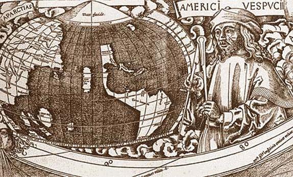 Фрагмент карты мира Вальдземюллера с изображением Америго Веспуччи