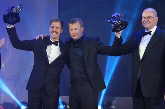 Себастьян Феттель и Кими Райкконен на церемонии награждения FIA Gala