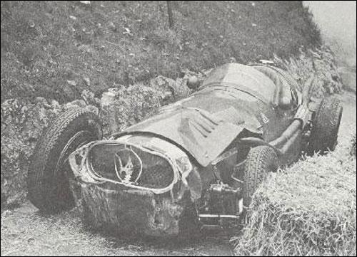 Разбитая Maserati Серджио Мантовани. Гран При Турина 1955 года