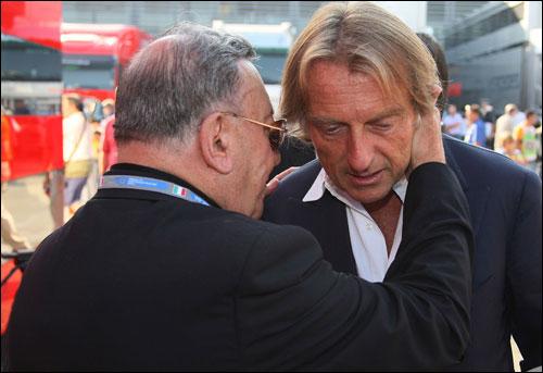 Серджио Мантовани с Лукой ди Монтедземоло в паддоке Гран При Италии 2000 года