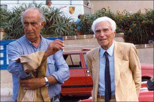 Пьеро Таруффи (справа) на историческом гоночном фестивале. Октябрь 1986 года. Фото из архива Энцо Манцо
