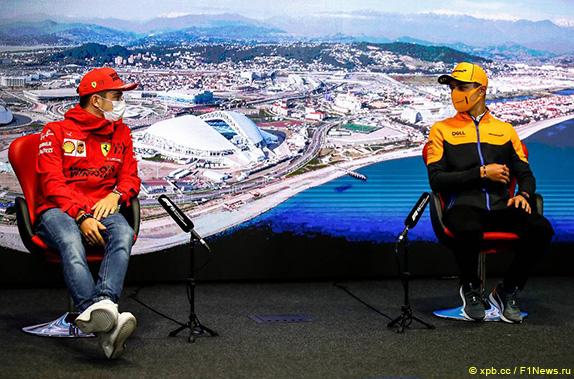 Шарль Леклер (Ferrari) и Ландо Норрис (McLaren)