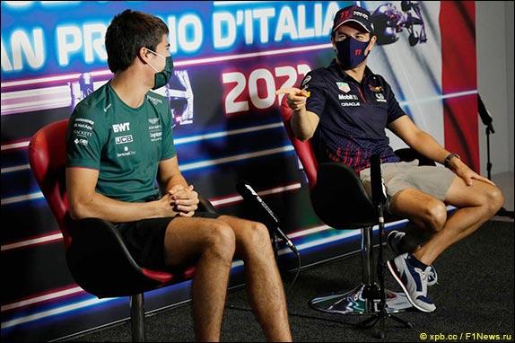 Лэнс Стролл (Aston Martin) и Серхио Перес (Red Bull)