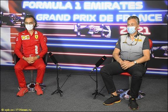 Лоран Мекис (Fеrrari) и Марио Изола (Pirelli)