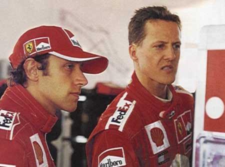 Лука Бадоер и Михаэль Шумахер. Тесты. Фьорано. 2001.