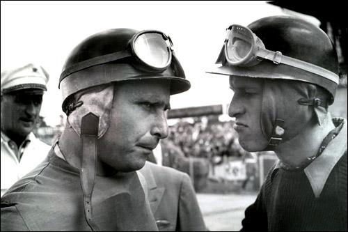 Напарники по Ferrari Хуан-Мануэль Фанхио и Питер Коллинз, 1956 год