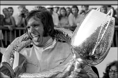 Эмерсон Фиттипальди на подиуме Гран При Австрии 1972 года