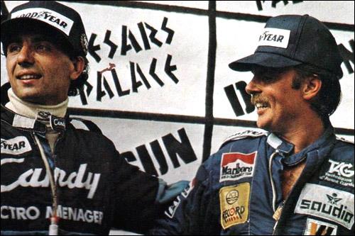 Микеле Альборето и Кеке Росберг на подиуме Гран При Лас-Вегаса 1982 года