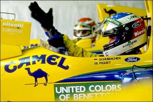 Михаэль Шумахер и Нельсон Пике в боксах Benetton