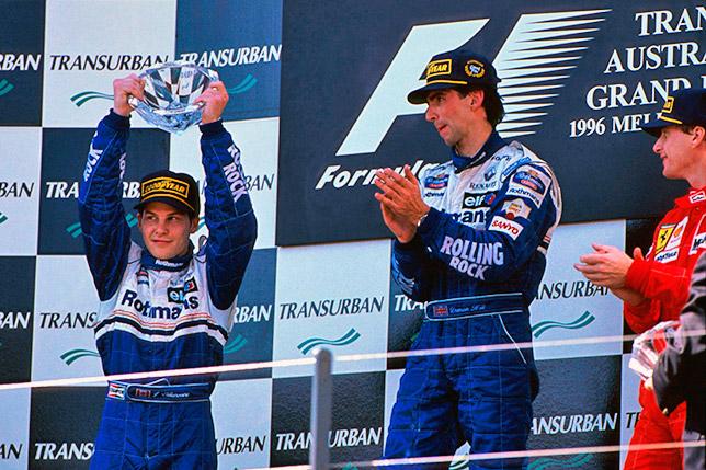 Подиум Гран При Австралии 1996 года: Вильнёв, Хилл, Ирвайн