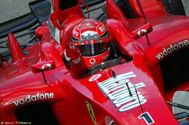 Михаэль Шумахер празднует победу на Гран При Канады 2002 года