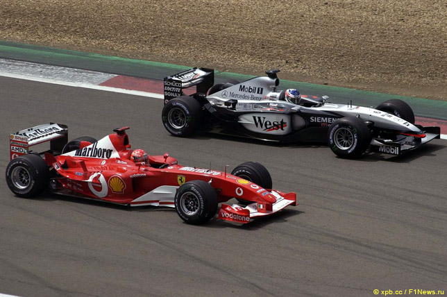 Михаэль Шумахер и Кими Райкконен на Гран При Европы 2003 года