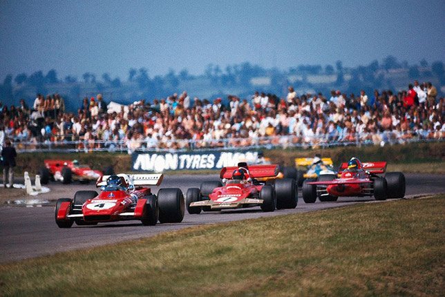 Жаки Икс, Эмерсон Фиттипальди и Ронни Петерсон на Гран При Великобритании 1971 года