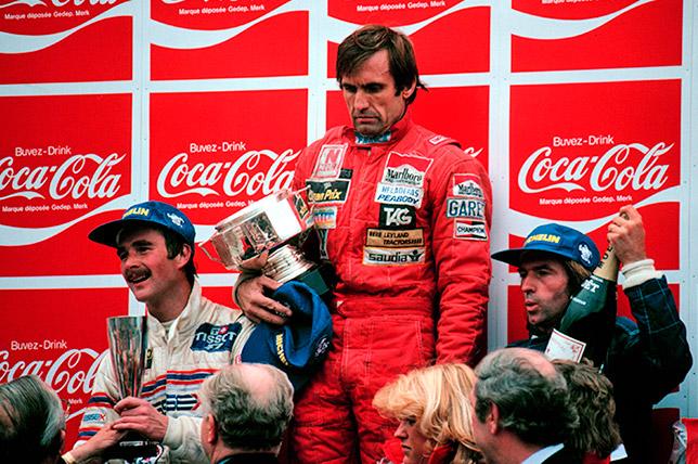 Найджел Мэнселл, Карлос Ройтеман и Жак Лаффит на подиуме Гран При Бельгии 1981 года