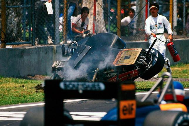 Авария Филиппа Альо на квалификации Гран При Мексики