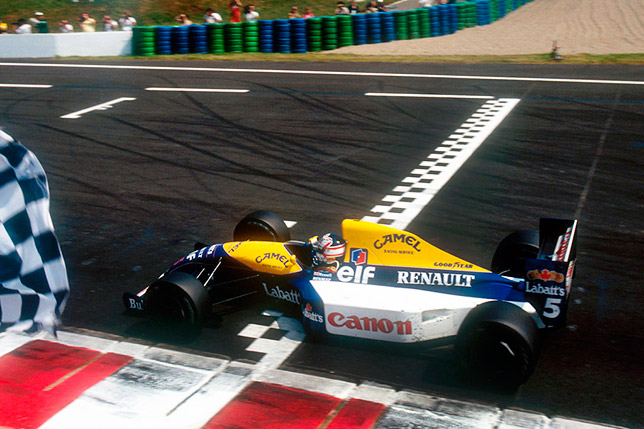 Найджел Мэнселл выигрывает Гран При Франции в Маньи-Кур