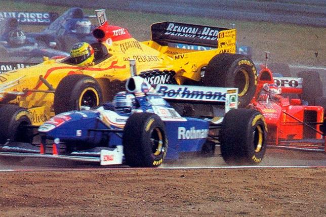 Авария Ральфа и Михаэля Шумахеров на старте Гран При Люксембурга