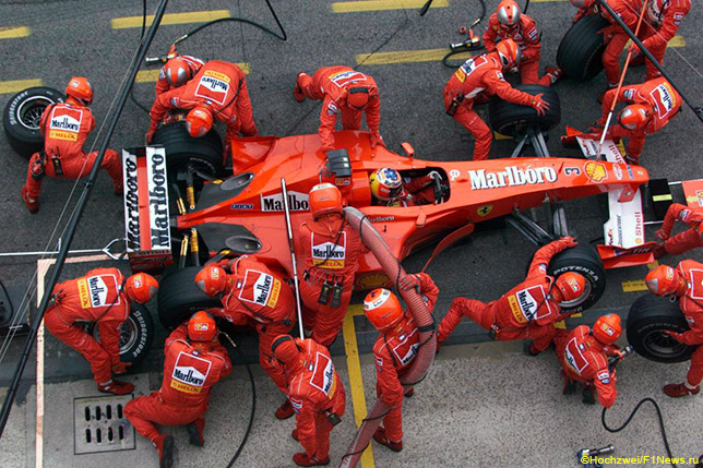 Пит-стоп Михаэля Шумахера на Гран При Сан-Марино 2000 года