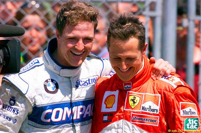Ральф и Михаэль Шумахеры после финиша Гран При Канады 2001 года