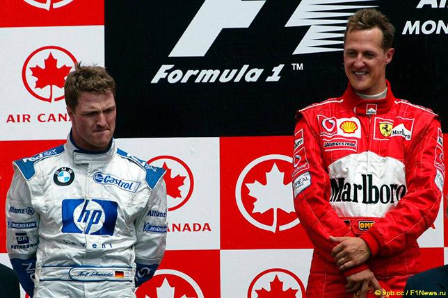 Ральф и Михаэль Шумахеры на подиуме Гран При Канады 2003 года