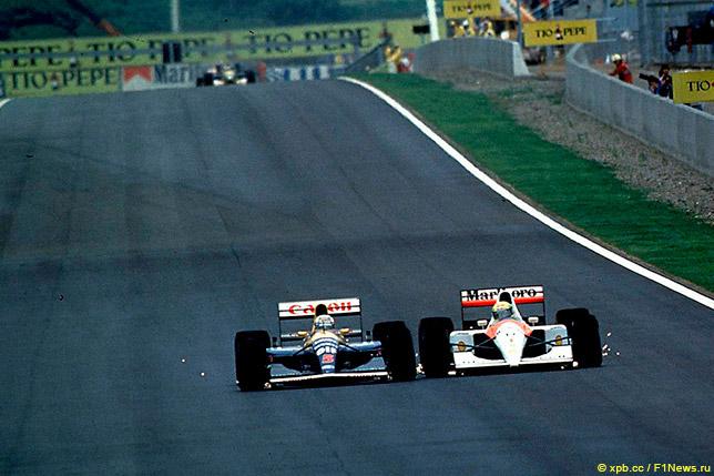 Найджел Мэнселл опережает Айртона Сенну на Гран При Испании 1991 года