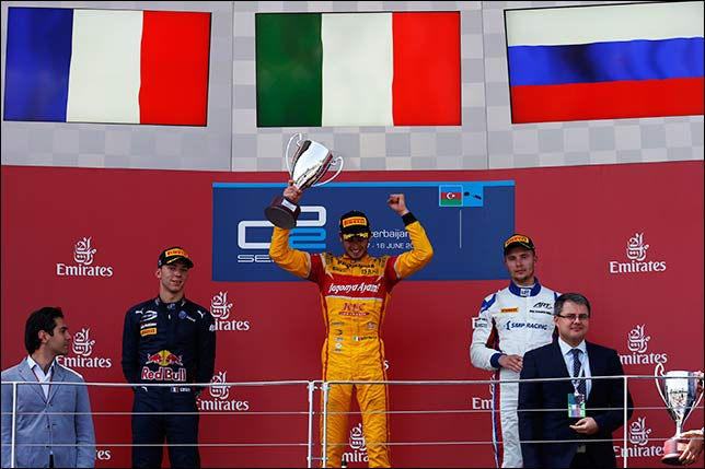Подиум воскресной гонки GP2 в Баку