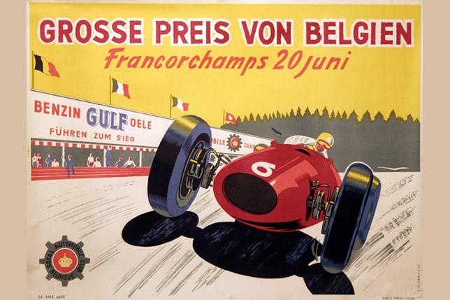 Рекламная афиша Гран При Бельгии 1954 года