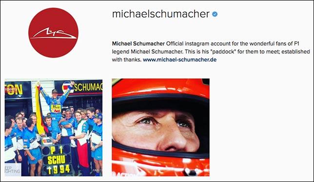 Pr-служба Михаэля Шумахера открыла аккаунт спортсмена в социальная сеть Instagram